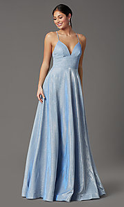 Image of v-neck glitter long prom dress with pockets. Style: SOI-W19290 Detail Image 5