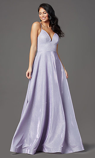 V-Neck Glitter Long Prom Dress with Pockets