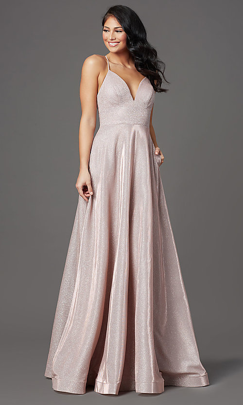 Image of v-neck glitter long prom dress with pockets. Style: SOI-W19290 Front Image