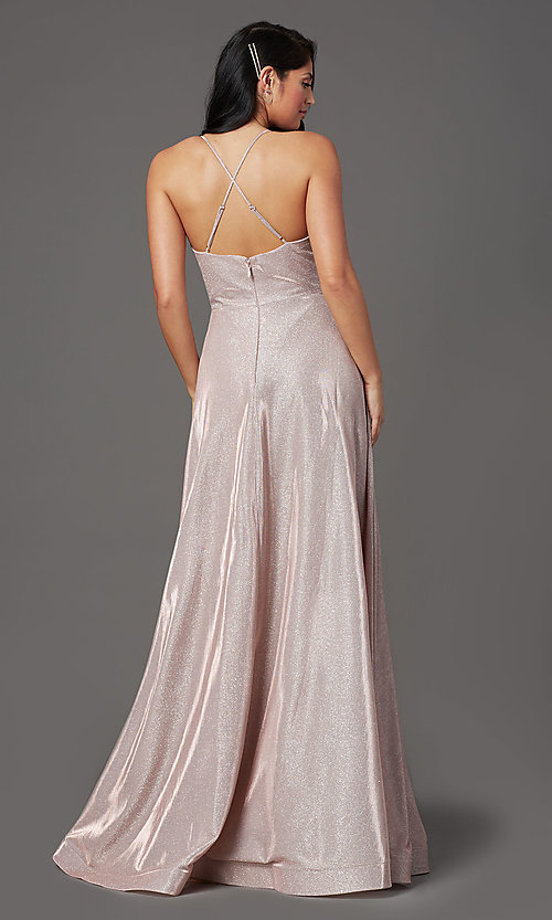 Image of v-neck glitter long prom dress with pockets. Style: SOI-W19290 Detail Image 3
