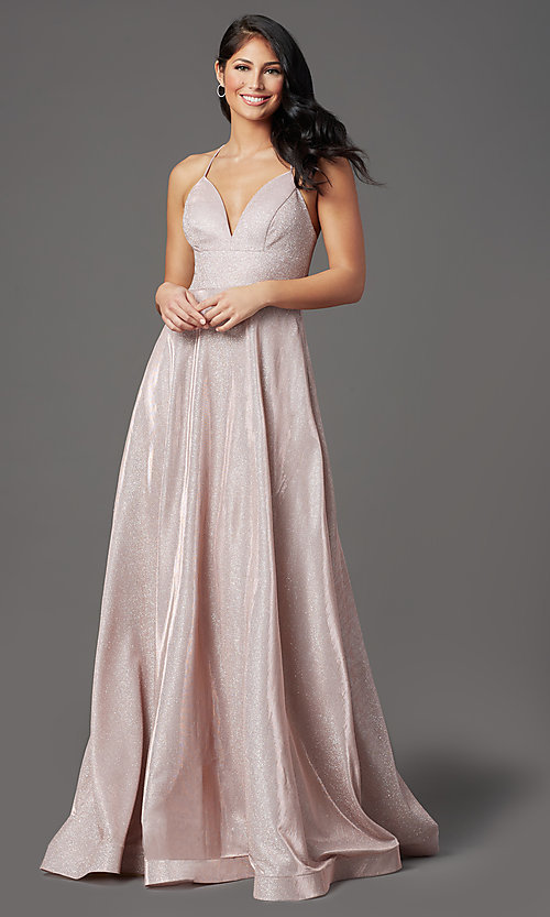 Image of v-neck glitter long prom dress with pockets. Style: SOI-W19290 Detail Image 2