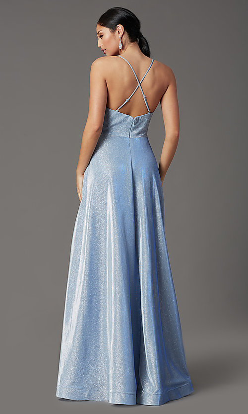 Image of v-neck glitter long prom dress with pockets. Style: SOI-W19290 Detail Image 4