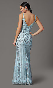 Image of long v-neck formal prom dress with glitter print. Style: SOI-W19092 Back Image