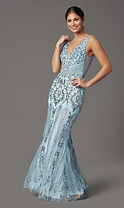 Image of long v-neck formal prom dress with glitter print. Style: SOI-W19092 Detail Image 2