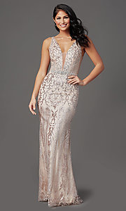 Image of long v-neck formal prom dress with glitter print. Style: SOI-W19092 Detail Image 3