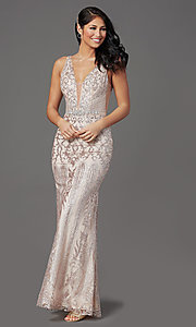 Image of long v-neck formal prom dress with glitter print. Style: SOI-W19092 Detail Image 5
