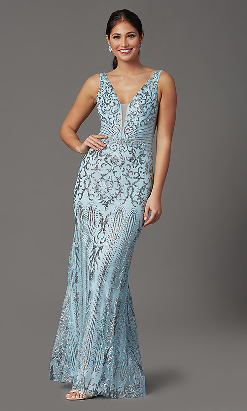 Image of long v-neck formal prom dress with glitter print. Style: SOI-W19092 Front Image