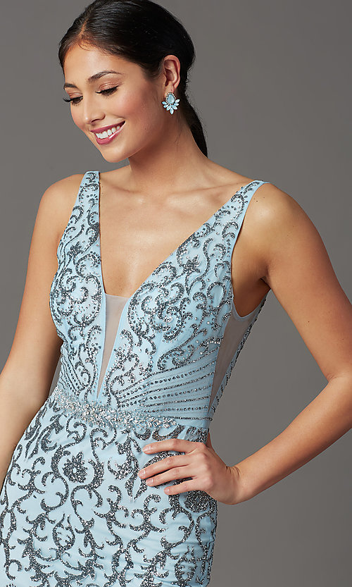 Image of long v-neck formal prom dress with glitter print. Style: SOI-W19092 Detail Image 1