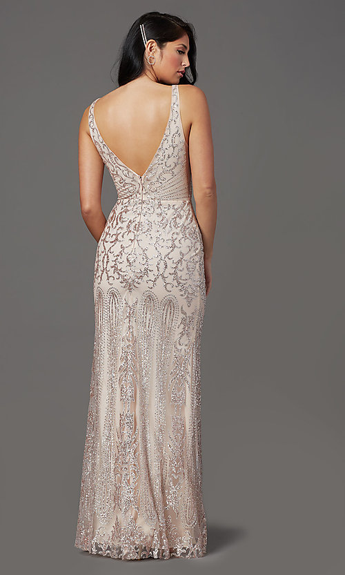 Image of long v-neck formal prom dress with glitter print. Style: SOI-W19092 Detail Image 4
