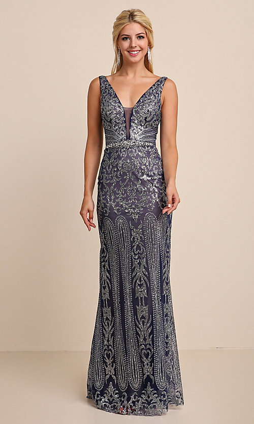 Image of long v-neck formal prom dress with glitter print. Style: SOI-W19092 Detail Image 7
