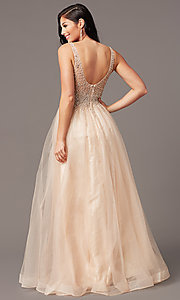 Image of ball-gown-style long tulle prom dress with beading. Style: SOI-W18945 Back Image