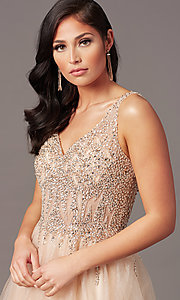 Image of ball-gown-style long tulle prom dress with beading. Style: SOI-W18945 Detail Image 5