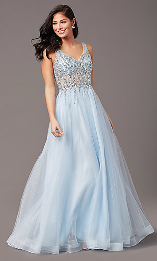 Ball-Gown-Style Long Tulle Prom Dress with Beading