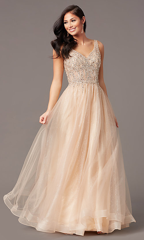 Image of ball-gown-style long tulle prom dress with beading. Style: SOI-W18945 Front Image