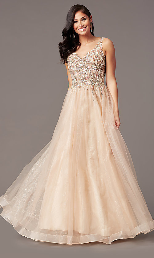 Image of ball-gown-style long tulle prom dress with beading. Style: SOI-W18945 Detail Image 6