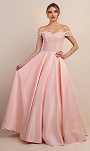 Image of long prom dress with off-shoulder beaded bodice. Style: SOI-W19001 Detail Image 6