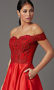 Image of long prom dress with off-shoulder beaded bodice. Style: SOI-W19001 Detail Image 1