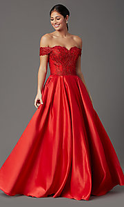 Image of long prom dress with off-shoulder beaded bodice. Style: SOI-W19001 Detail Image 2