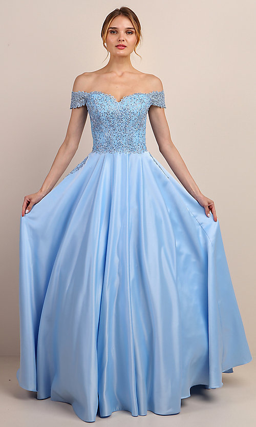 Image of long prom dress with off-shoulder beaded bodice. Style: SOI-W19001 Detail Image 7