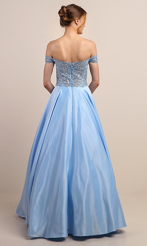 Image of long prom dress with off-shoulder beaded bodice. Style: SOI-W19001 Detail Image 8