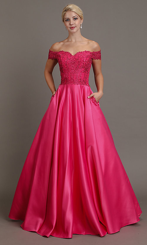 Image of long prom dress with off-shoulder beaded bodice. Style: SOI-W19001 Detail Image 3