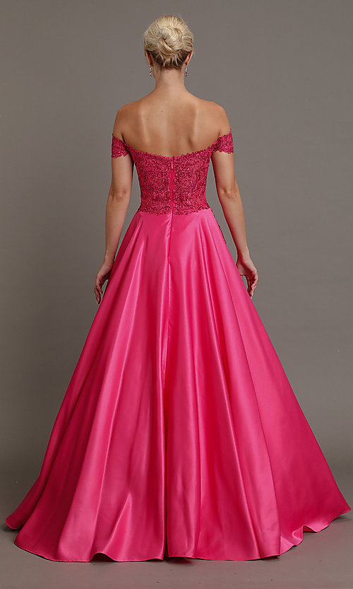 Image of long prom dress with off-shoulder beaded bodice. Style: SOI-W19001 Detail Image 4