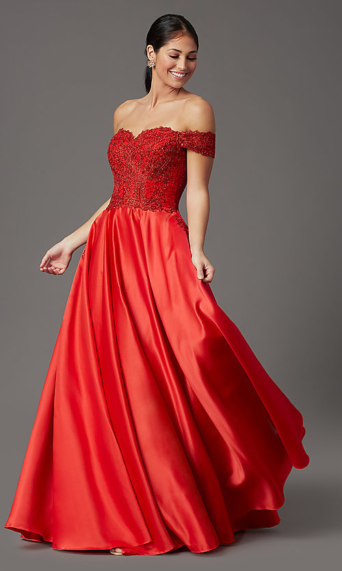 Image of long prom dress with off-shoulder beaded bodice. Style: SOI-W19001 Front Image
