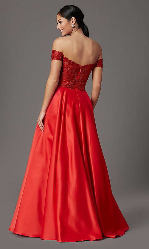 Image of long prom dress with off-shoulder beaded bodice. Style: SOI-W19001 Back Image