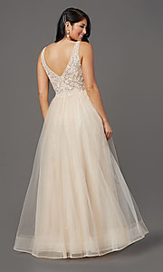 Image of sleeveless a-line long glitter prom dress. Style: SOI-W18943 Detail Image 4