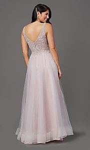 Image of sleeveless a-line long glitter prom dress. Style: SOI-W18943 Back Image