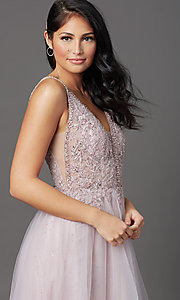 Image of sleeveless a-line long glitter prom dress. Style: SOI-W18943 Detail Image 2