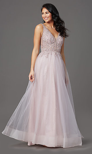 Sleeveless A-Line Long Glitter Prom Dress