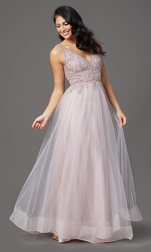 Image of sleeveless a-line long glitter prom dress. Style: SOI-W18943 Detail Image 1