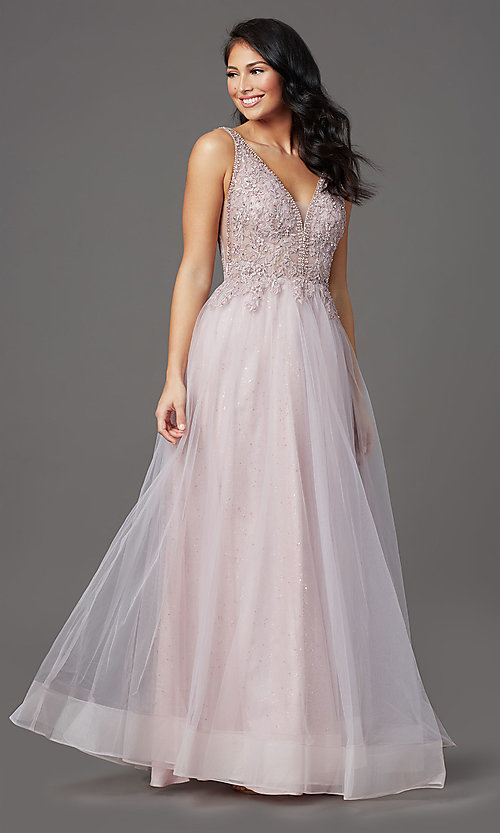 Image of sleeveless a-line long glitter prom dress. Style: SOI-W18943 Front Image