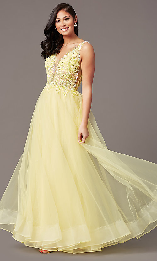 Image of sleeveless a-line long glitter prom dress. Style: SOI-W18943 Detail Image 6