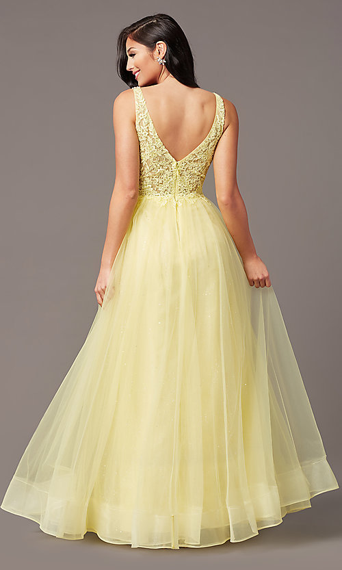 Image of sleeveless a-line long glitter prom dress. Style: SOI-W18943 Detail Image 7