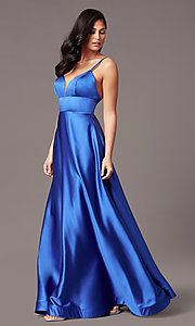Image of long satin v-neck prom dress by PromGirl. Style: TE-PL-9135 Front Image
