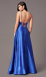 Image of long satin v-neck prom dress by PromGirl. Style: TE-PL-9135 Back Image