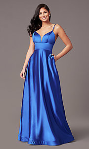 Image of long satin v-neck prom dress by PromGirl. Style: TE-PL-9135 Detail Image 2