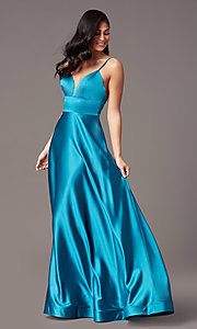 Image of long satin v-neck prom dress by PromGirl. Style: TE-PL-9135 Detail Image 3