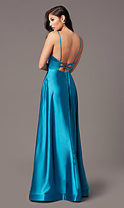 Image of long satin v-neck prom dress by PromGirl. Style: TE-PL-9135 Detail Image 4