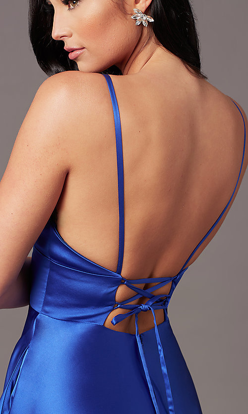 Image of long satin v-neck prom dress by PromGirl. Style: TE-PL-9135 Detail Image 1