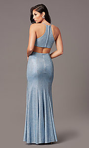 Image of long electric blue glitter prom dress by PromGirl. Style: TE-PL-9115 Back Image