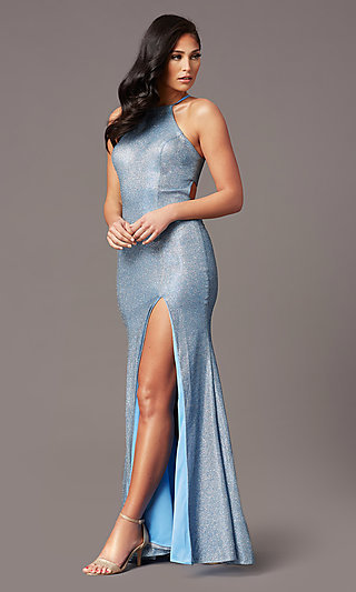 Long Electric Blue Glitter Prom Dress by PromGirl
