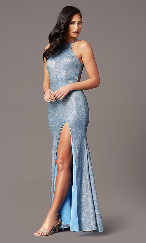 Image of long electric blue glitter prom dress by PromGirl. Style: TE-PL-9115 Front Image