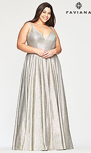 Image of long glitter plus-size prom dress in silver and gold. Style: FA-9493 Front Image