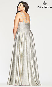 Image of long glitter plus-size prom dress in silver and gold. Style: FA-9493 Back Image