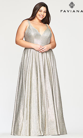 Long Glitter Plus-Size Prom Dress in Silver and Gold