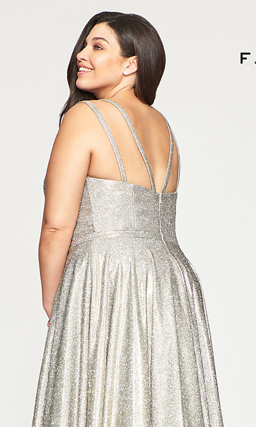 Image of long glitter plus-size prom dress in silver and gold. Style: FA-9493 Detail Image 2