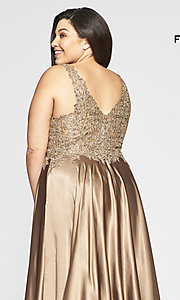 Image of long v-neck plus-size prom dress with lace. Style: FA-9494 Detail Image 2